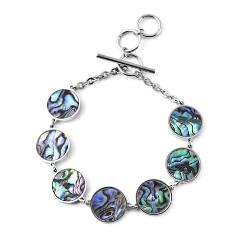 Stainless Steel Shell Station Bracelet with Toggle Clasp Size 7.25 In - Bracelet 7.25''