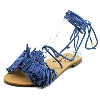 Luichiny Toss Around Women  Open Toe Suede Blue Sandals