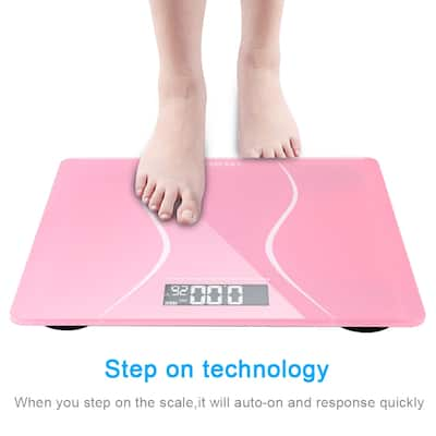 LEADZM 180Kg Slim Waist Pattern Personal Scale Black/Pink
