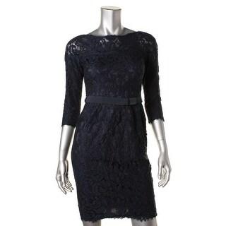 Tadashi Shoji Womens Petites Petite Lace 3/4 Sleeves Cocktail Dress