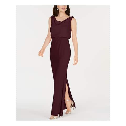 ADRIANNA PAPELL Burgundy Sleeveless Maxi Sheath Dress Size 2