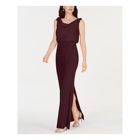ADRIANNA PAPELL Burgundy Sleeveless Maxi Straight leg Dress 20