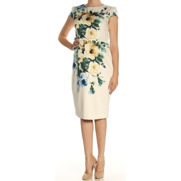 Womens Yellow Floral Cap Sleeve Below The Knee Sheath Dress Size: 10