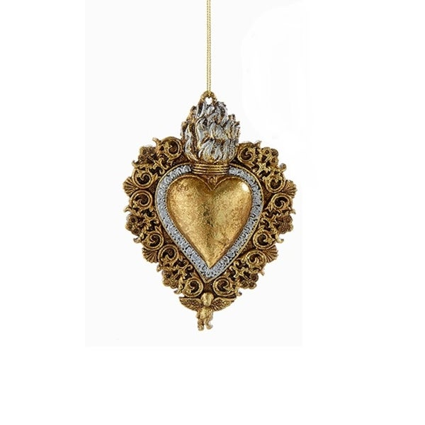 "4.25"" Gold Religious Flaming Sacred Heart with Cherub Hanging Christmas Ornament"