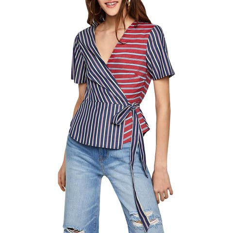 BCBGeneration Womens Blouse Short Sleeves Striped