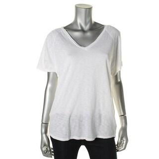 Stateside Womens Pima Cotton V-Neck T-Shirt - M