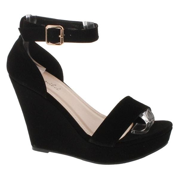 Bonnibel Paige-1 Classic Open Toe Platform Wedge Dress Sandal W Ankle Strap & Heel Counter - blacknb