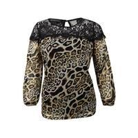 INC International Concepts Women's Lace Animal-Print Top - leopard wave