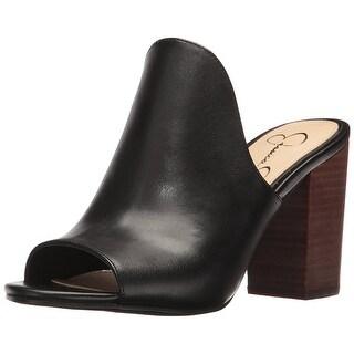Jessica Simpson Womens Rainn Leather Peep Toe Casual Mule Sandals