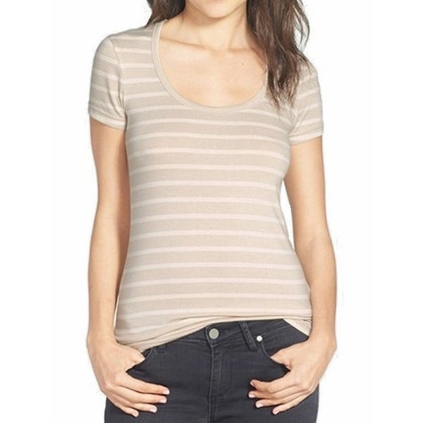 07b25572962 Shop Caslon NEW Beige Striped Ivory Women Large L Scoop Neck T-Shirt DEAL -  Free Shipping On Orders Over  45 - Overstock.com - 17265301