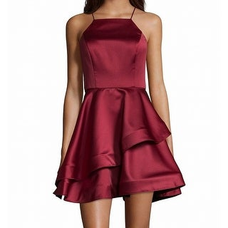 Link to Betsy & Adam Women's Dress Red Size 6 A-Line Square-Neck Ruffle Satin Similar Items in Dresses