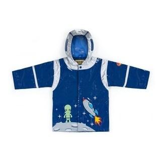 Kidorable Little Boys Blue Rocket Pocket Space Hero Hooded Rain Coat 2T-6X (More options available)