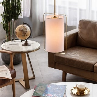 Link to Novogratz x Globe Dylan 1-Light Matte Gold Pendant Light with White Fabric Shade Similar Items in Pendant Lights