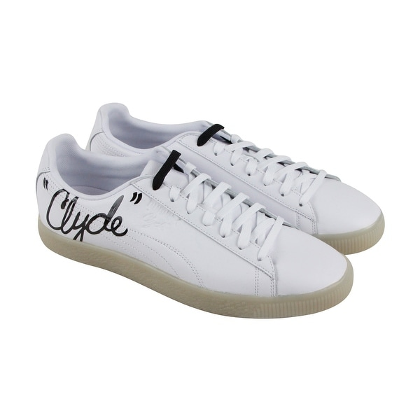 ec895dee57a4 Shop Puma Clyde Signature Ice Mens White Leather Lace Up Sneakers ...