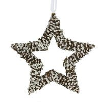 """13"""" In The Birches White Pine Cone Star Christmas Ornament - brown"""