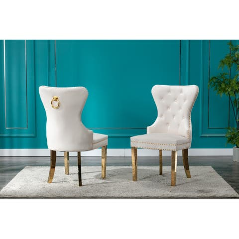 Best Quality Furniture Nailhead Tufted Side Chair (Set of 2)