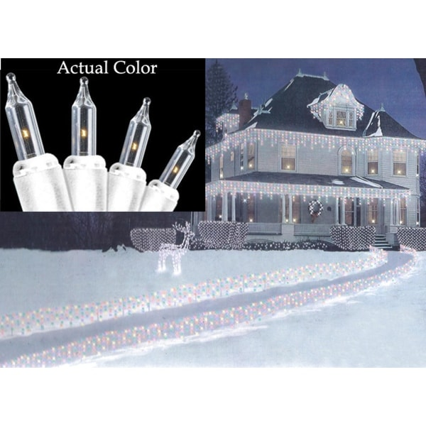 Set of 100 Super Bright Clear Mini Icicle Christmas Lights - White Wire