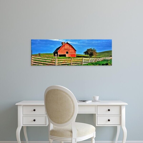 Easy Art Prints Panoramic Image 'Old barn with fence in a field, Palouse, Whitman County, Washington State' Canvas Art
