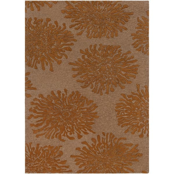 Hand Tufted Contemporary Brown Orange Mountain New Zealand Wool Abstract Area Rug Overstock 6378485