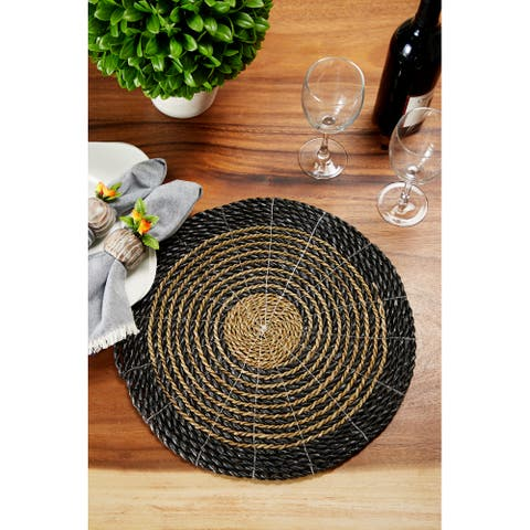 Round Striped Gray and Natural Seagrass Placemats, Set of 4 15 Each - 15 x 15 x 1Round