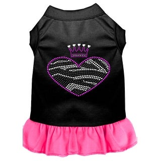 Zebra Heart Rhinestone Dress Black with Bright Pink XL (16)