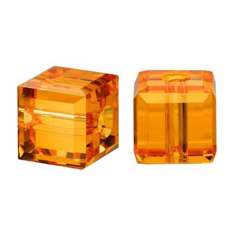 Swarovski Elements Crystal, 5601 Cube Beads 4mm, 10 Pieces, Topaz