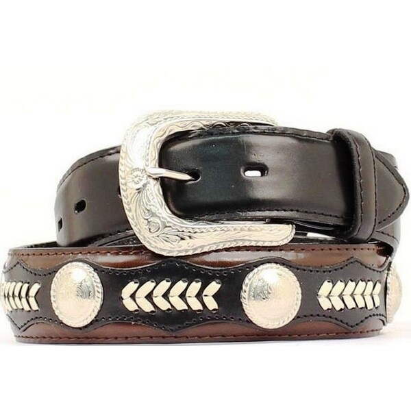 Nocona Western Belt Mens Leather Laced Concho Black Mocha