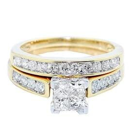 10K Yellow Gold Princess Cut Diamond Wedding Ring Set 1cttw 2pc Set