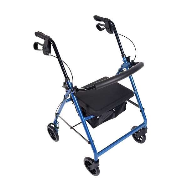 Rollator Walker with Padded Seat for Elderly, Disabled, Limited Mobility Patients, Wheeled Walking Stabilizer, Supports 300 LBS