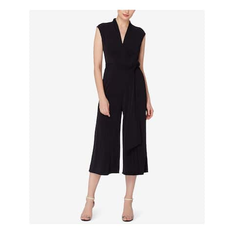 CATHERINE Womens Black Pleated Cropped Cap Sleeve V Neck Wide Leg Jumpsuit Size: 14