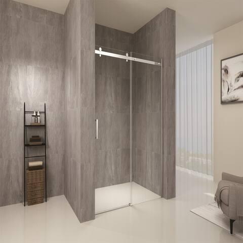 48 in. W x 76 in. H Frameless Bypass Sliding Shower Door