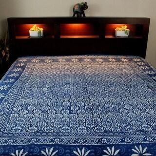 Cotton Hand Block Print Floral Tapestry Wall Hang Bedspread Queen Indigo Blue