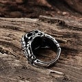 Vienna Jewelry Black Gem with Sterling Silver Lining Ring - Thumbnail 1