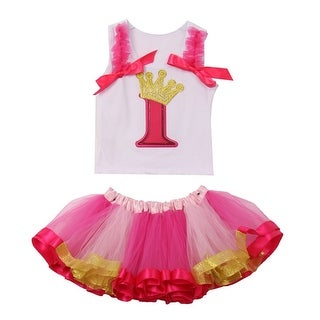 Baby Girls Fuchsia Ruffle Number Applique Birthday Tutu 2 Pc Skirt Outfit 1Y