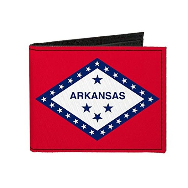 Buckle-Down Canvas Bi-fold Wallet - Arkansas Flag Accessory