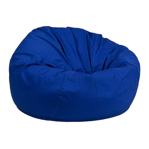 Offex Oversized Portable Cotton Upholstered Kids Bean Bag Chair - Royal Blue