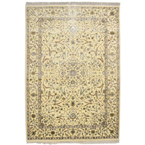 """One of a Kind Hand-Knotted Persian 4' x 6' Oriental Wool Ivory Rug - 3'11""""x5'9"""""""