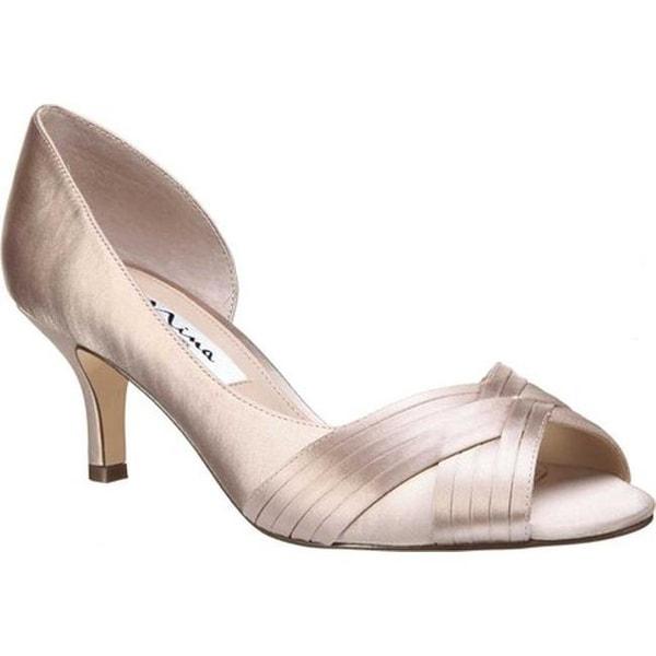 d135b433274 Shop Nina Women's Contesa Peep Toe Pump Champagne Satin - On Sale ...