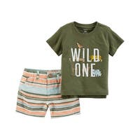 Carter's Baby Boys' 2-Piece Slub Jersey Top & Striped Short Set