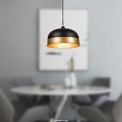 Matte Black Pendant light - Black and Gold - 11.8*11.8inch