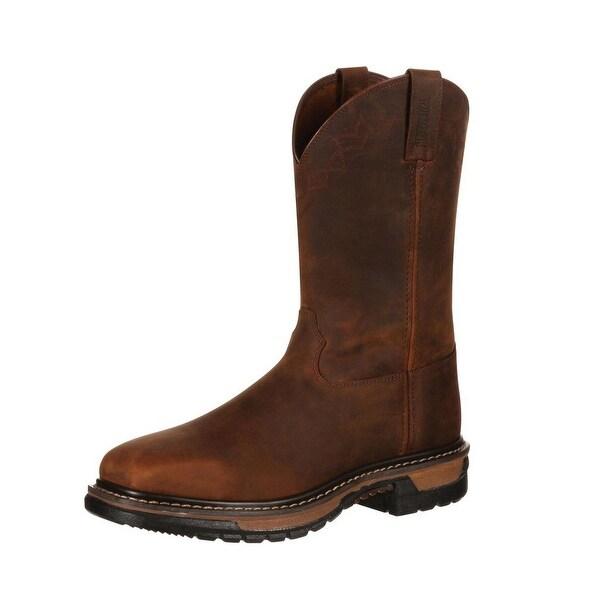 "Rocky Western Boots Mens 11"" Original Ride Steel Toe Brown"
