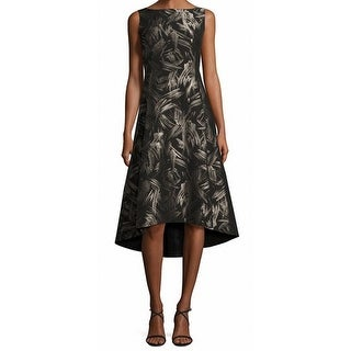 Lafayette 148 New York NEW Black Womens Size 8 Hi-Low Spark Print Dress