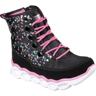 Skechers Girls' S Lights Lumi-Luxe Cool Weather Boot Black/Multi