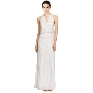 Aidan Mattox Sleeveless Beaded Keyhole Blouson Evening Gown Dress