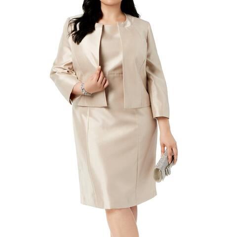 Le Suit Women's Suit Dress Gold Size 20W Plus Sheath Shiny 2 Piece