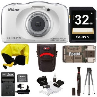 Nikon COOLPIX W100 Waterproof Digital Camera (White) + 32GB Card + Battery + Kit
