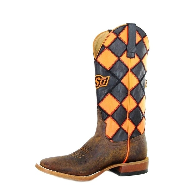 Horse Power Western Boots Mens Oklahoma OSU Patchwork Brown