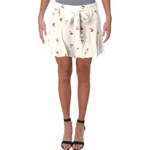 Aqua Womens Cherry Casual Shorts Printed Belted - White/Red