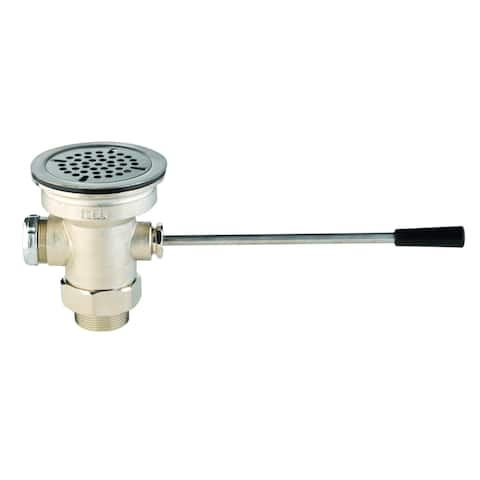 "T and S Brass B-3960 3"" Waste Drain Valve with Lever Handle, and 2"" NPT x 1-1/2"" NPT Male Adapter -"