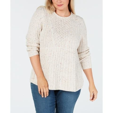 NY Collection Women's Sweater Beige Size 1X Plus Ribbed Cable-Knit